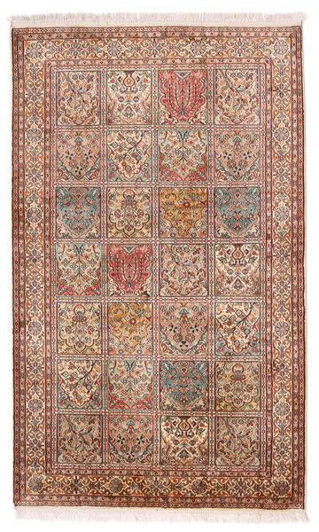 Kashmir Ren Silke Teppe 97X159 Ekte Orientalsk Håndknyttet Mørk Brun/Beige (Silke, India)