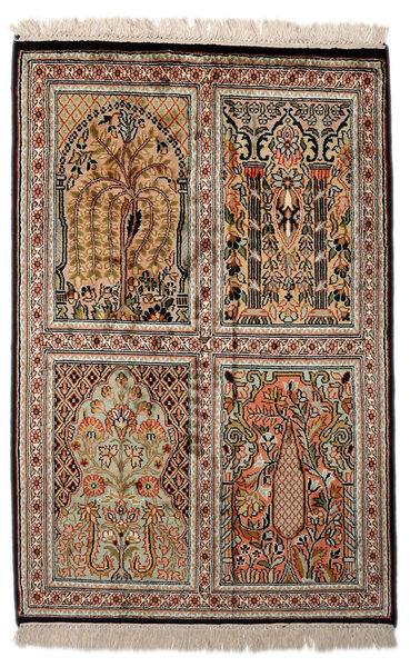 Kashmir Ren Silke Teppe 62X93 Ekte Orientalsk Håndknyttet Mørk Brun/Lys Grå (Silke, India)