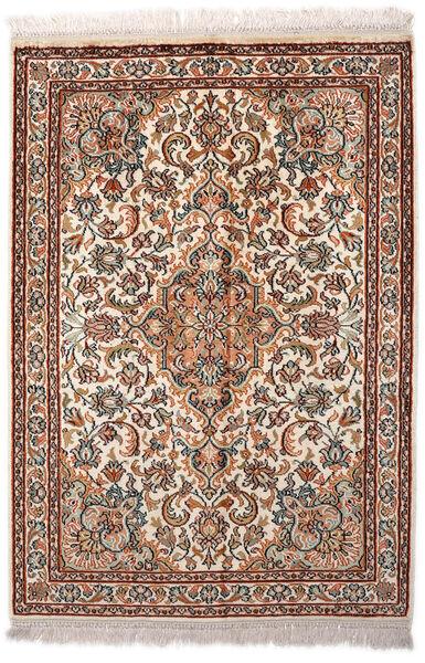 Kashmir Ren Silke Teppe 65X94 Ekte Orientalsk Håndknyttet Lysbrun/Mørk Brun (Silke, India)