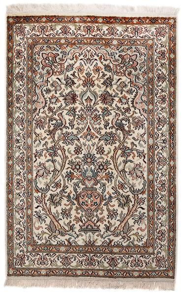Kashmir Ren Silke Teppe 62X97 Ekte Orientalsk Håndknyttet Lys Grå/Brun (Silke, India)