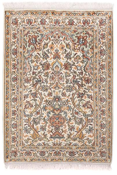 Kashmir Ren Silke Teppe 65X89 Ekte Orientalsk Håndknyttet Lys Grå/Hvit/Creme (Silke, India)