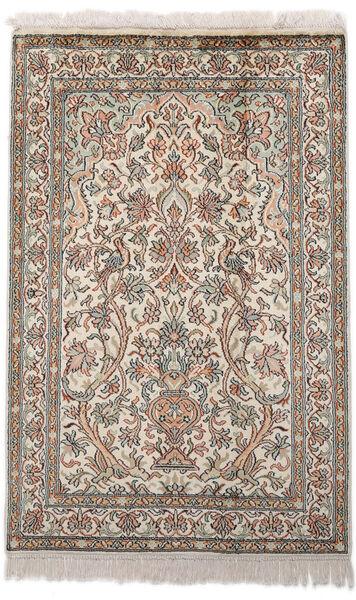 Kashmir Ren Silke Teppe 62X96 Ekte Orientalsk Håndknyttet Lys Grå/Beige (Silke, India)