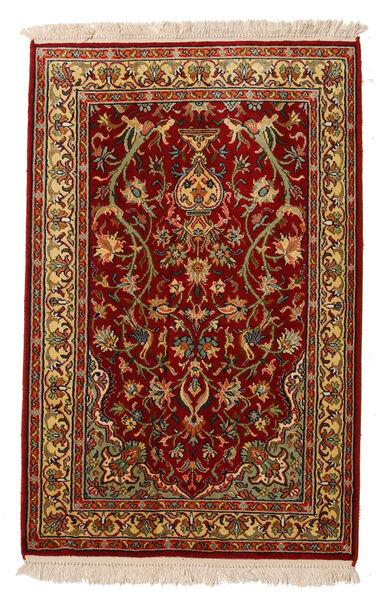 Kashmir Ren Silke Teppe 62X95 Ekte Orientalsk Håndknyttet Mørk Rød/Mørk Brun (Silke, India)