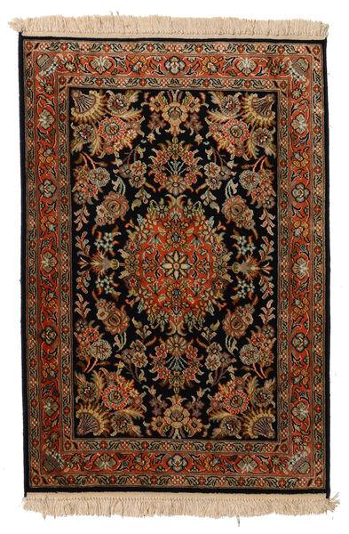Kashmir Ren Silke Teppe 63X93 Ekte Orientalsk Håndknyttet Svart/Mørk Brun (Silke, India)