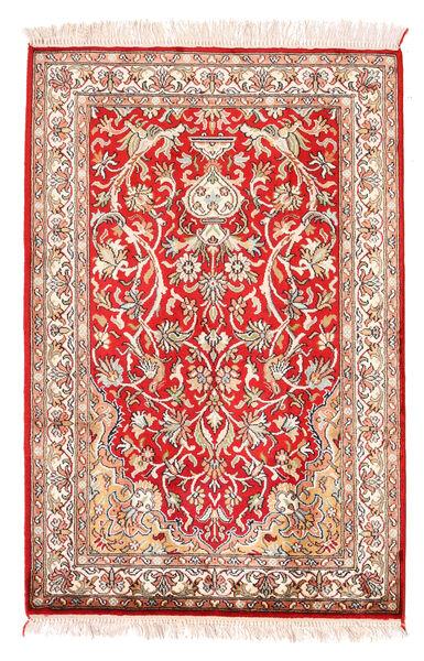 Kashmir Ren Silke Teppe 64X96 Ekte Orientalsk Håndknyttet Mørk Rød/Rød (Silke, India)