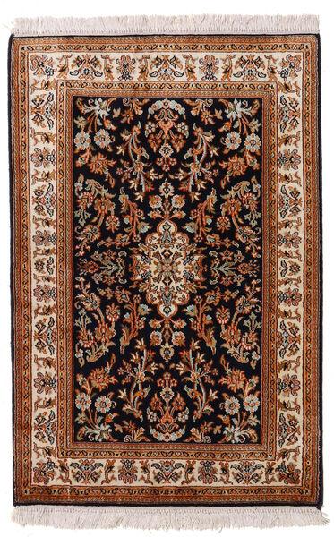 Kashmir Ren Silke Teppe 63X96 Ekte Orientalsk Håndknyttet Mørk Rød/Svart (Silke, India)