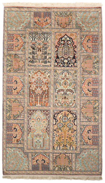 Kashmir Ren Silke Teppe 93X156 Ekte Orientalsk Håndknyttet Beige/Brun (Silke, India)