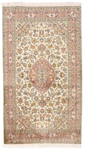 Kashmir Ren Silke Teppe 93X158 Ekte Orientalsk Håndknyttet Hvit/Creme/Mørk Brun (Silke, India)