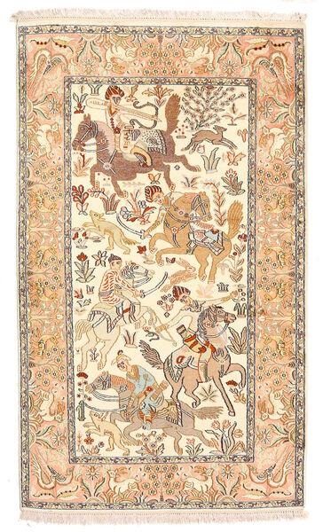 Kashmir Ren Silke Teppe 92X154 Ekte Orientalsk Håndknyttet Beige/Mørk Beige (Silke, India)