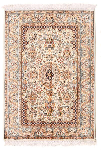 Kashmir Ren Silke Teppe 66X94 Ekte Orientalsk Håndknyttet Gul/Lys Grå (Silke, India)