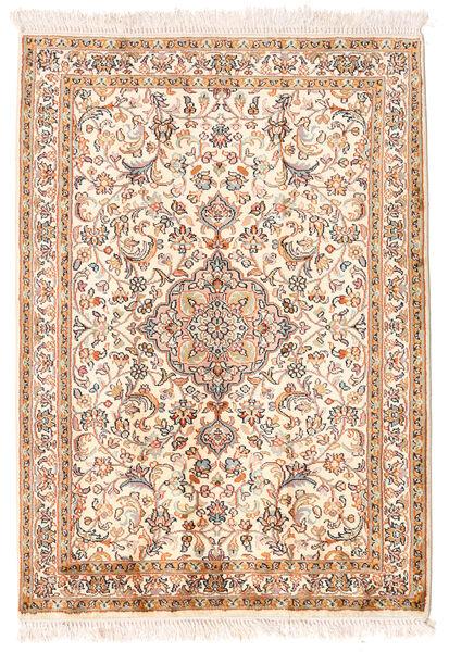 Kashmir Ren Silke Teppe 65X93 Ekte Orientalsk Håndknyttet Gul/Lyserosa (Silke, India)