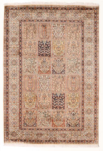 Kashmir Ren Silke Teppe 127X189 Ekte Orientalsk Håndknyttet Mørk Rød/Brun (Silke, India)