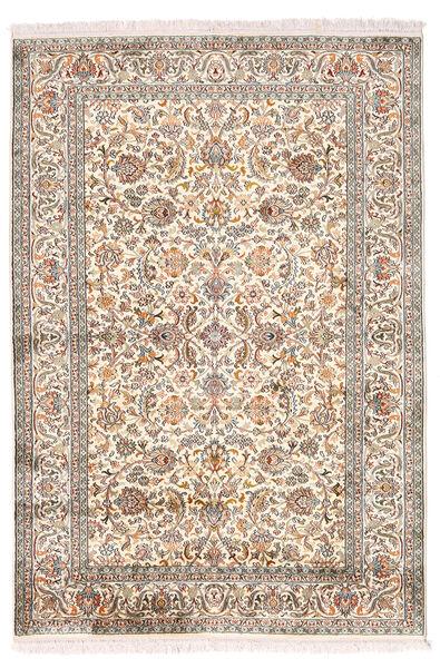 Kashmir Ren Silke Teppe 126X184 Ekte Orientalsk Håndknyttet Lys Grå/Beige (Silke, India)