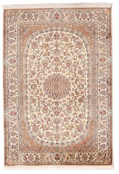 Kashmir Ren Silke Teppe 128X184 Ekte Orientalsk Håndknyttet Lyserosa/Brun (Silke, India)