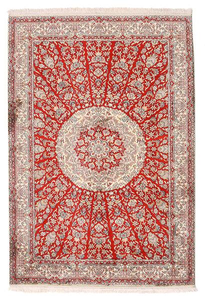 Kashmir Ren Silke Teppe 129X188 Ekte Orientalsk Håndknyttet Lys Grå/Beige (Silke, India)