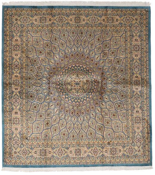 Kashmir Ren Silke Teppe 179X193 Ekte Orientalsk Håndknyttet Kvadratisk Lysbrun/Lys Grå (Silke, India)