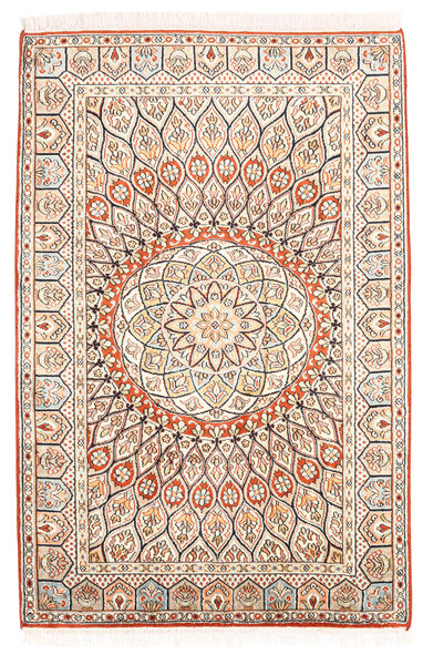 Kashmir Ren Silke Teppe 85X128 Ekte Orientalsk Håndknyttet Beige/Mørk Brun (Silke, India)