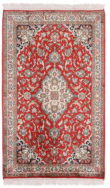 Kashmir Ren Silke Teppe 62X102 Ekte Orientalsk Håndknyttet Lys Grå/Mørk Rød (Silke, India)