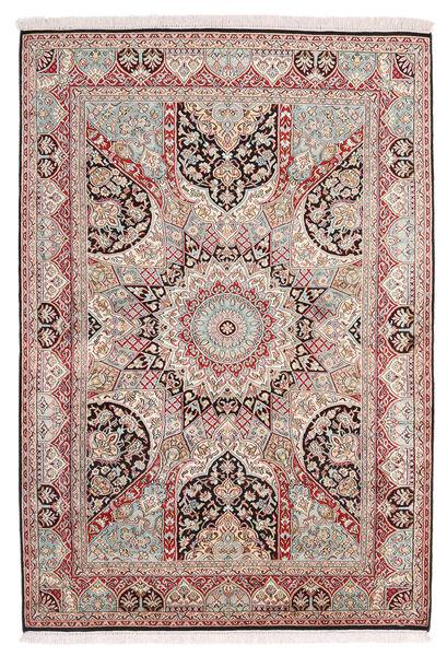 Kashmir Ren Silke Teppe 130X189 Ekte Orientalsk Håndknyttet Lys Grå/Lyserosa (Silke, India)