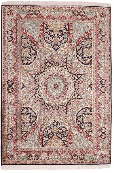 Kashmir Ren Silke Teppe 123X184 Ekte Orientalsk Håndknyttet Mørk Rød/Mørk Brun (Silke, India)