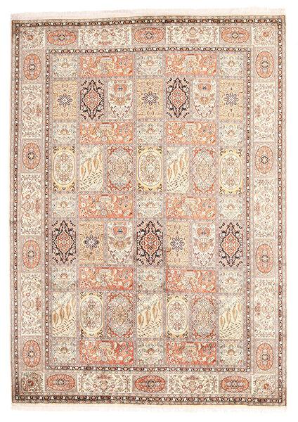 Kashmir Ren Silke Teppe 174X246 Ekte Orientalsk Håndknyttet Beige/Gul (Silke, India)