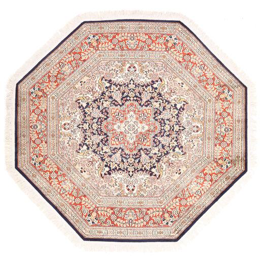 Kashmir Ren Silke Teppe 124X129 Ekte Orientalsk Håndknyttet Kvadratisk Hvit/Creme/Lysbrun (Silke, India)