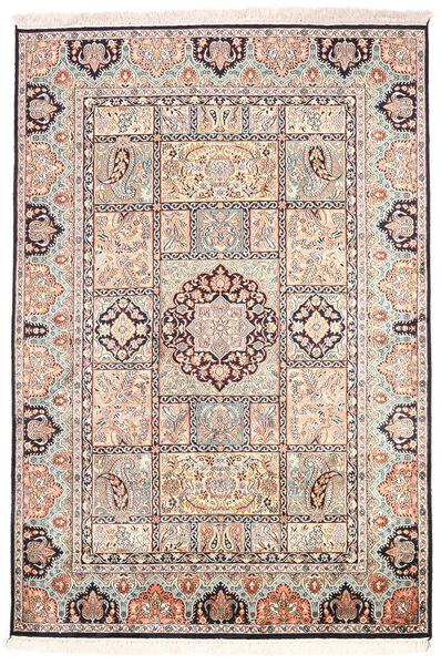 Kashmir Ren Silke Teppe 126X185 Ekte Orientalsk Håndknyttet Beige/Lys Grå (Silke, India)