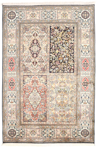 Kashmir Ren Silke Teppe 124X185 Ekte Orientalsk Håndknyttet Lys Grå/Hvit/Creme (Silke, India)