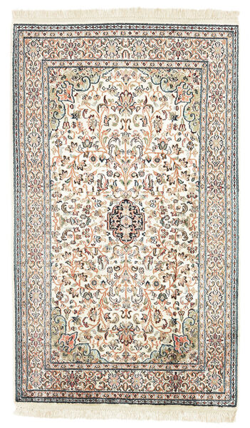 Kashmir Ren Silke Teppe 77X131 Ekte Orientalsk Håndknyttet Beige/Svart (Silke, India)