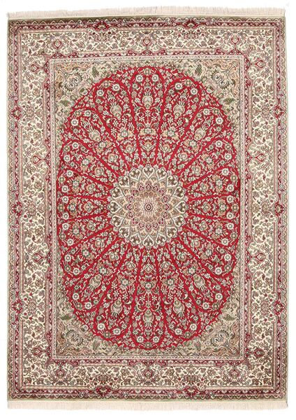 Kashmir Ren Silke Teppe 161X222 Ekte Orientalsk Håndknyttet Lys Grå/Lyserosa (Silke, India)