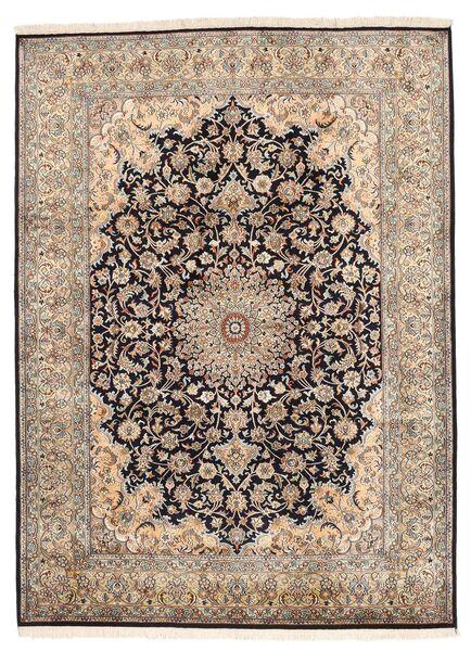 Kashmir Ren Silke Teppe 160X219 Ekte Orientalsk Håndknyttet Lys Grå/Mørk Brun/Brun (Silke, India)