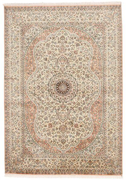 Kashmir Ren Silke Teppe 155X221 Ekte Orientalsk Håndknyttet Lys Grå/Brun (Silke, India)