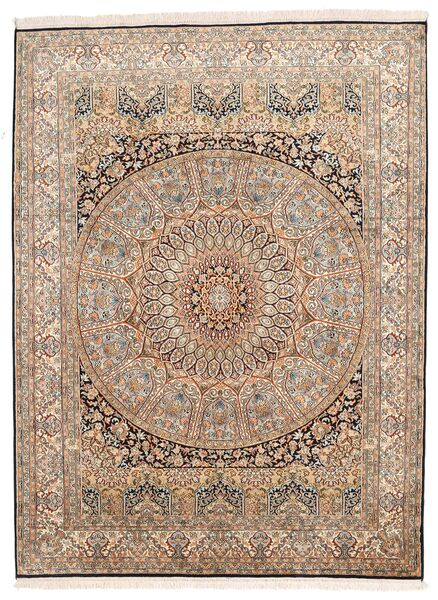 Kashmir Ren Silke Teppe 155X207 Ekte Orientalsk Håndknyttet Brun/Mørk Brun (Silke, India)