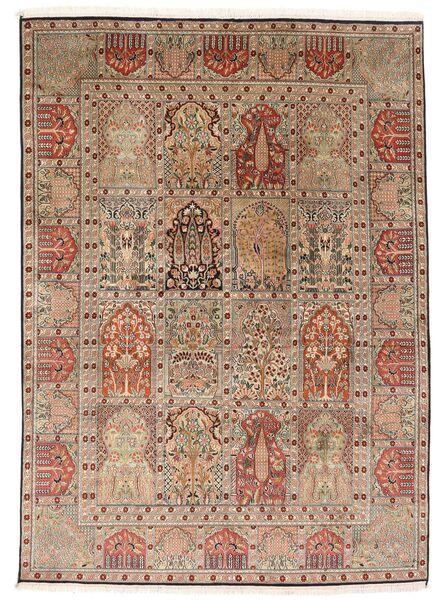 Kashmir Ren Silke Teppe 151X210 Ekte Orientalsk Håndknyttet Brun/Lysbrun (Silke, India)
