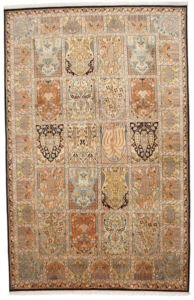 Kashmir Ren Silke Teppe 172X266 Ekte Orientalsk Håndknyttet Brun/Beige (Silke, India)