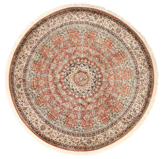Kashmir Ren Silke Teppe Ø 183 Ekte Orientalsk Håndknyttet Rundt Brun/Mørk Rød (Silke, India)