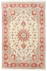 Tabriz 50 Raj Teppe 190X293 Ekte Orientalsk Håndknyttet Gul/Lysbrun (Ull/Silke, Persia/Iran)