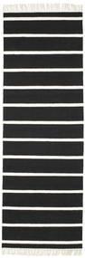 Dorri Stripe - Svart/Vit Teppe 80X250 Ekte Moderne Håndvevd Teppeløpere Svart/Hvit/Creme (Ull, India)