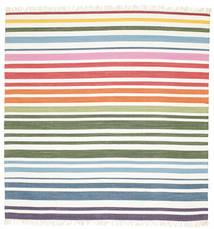 Rainbow Stripe - Vit Teppe 200X200 Ekte Moderne Håndvevd Kvadratisk Beige/Hvit/Creme (Bomull, India)