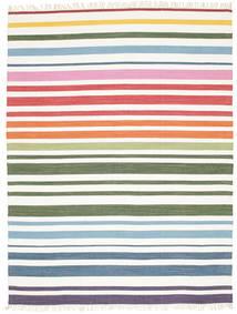 Rainbow Stripe - Vit Teppe 200X250 Ekte Moderne Håndvevd Beige/Hvit/Creme (Bomull, India)