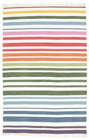 Rainbow Stripe - Vit Teppe 140X200 Ekte Moderne Håndvevd Hvit/Creme/Beige (Bomull, India)