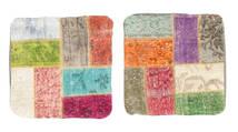 Patchwork Putevar Teppe 50X50 Ekte Orientalsk Håndknyttet Kvadratisk Lysgrønn/Beige (Ull, Tyrkia)