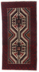 Beluch Teppe 87X167 Ekte Orientalsk Håndknyttet Mørk Brun/Mørk Rød (Ull, Persia/Iran)
