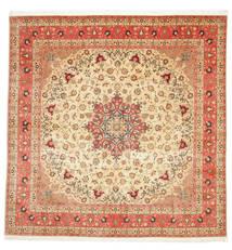 Tabriz 50 Raj Med Silke Teppe 292X298 Ekte Orientalsk Håndknyttet Kvadratisk Beige/Rust Stort (Ull/Silke, Persia/Iran)