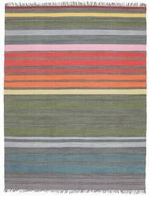 Rainbow Stripe - Grå Teppe 200X250 Ekte Moderne Håndvevd Lys Grå/Olivengrønn (Bomull, India)