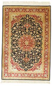 Ghom Silke Signert: Ghom Ahmadi Teppe 98X148 Ekte Orientalsk Håndknyttet Mørk Beige/Brun (Silke, Persia/Iran)