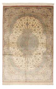 Ghom Silke Signert: Ghom Mosavi Teppe 128X200 Ekte Orientalsk Håndknyttet Mørk Beige/Beige (Silke, Persia/Iran)