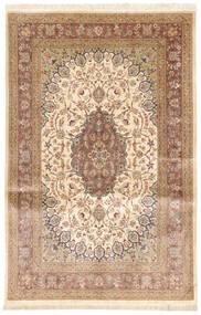 Ghom Silke Teppe 131X208 Ekte Orientalsk Håndknyttet Lysbrun/Mørk Beige/Beige (Silke, Persia/Iran)