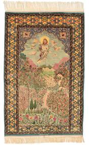 Isfahan Figur/Bilde Signert: Haghighi Teppe 163X230 Ekte Orientalsk Håndknyttet Brun/Beige (Ull/Silke, Persia/Iran)
