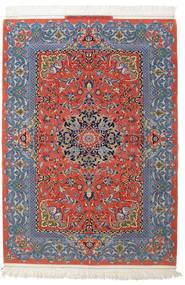 Isfahan Silkerenning Signert: Haghighi Teppe 150X220 Ekte Orientalsk Håndknyttet Mørk Grå/Mørk Rød (Ull/Silke, Persia/Iran)